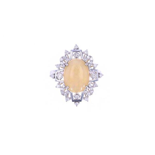 Stunning Natural Opal Diamond & 14k Gold Ring