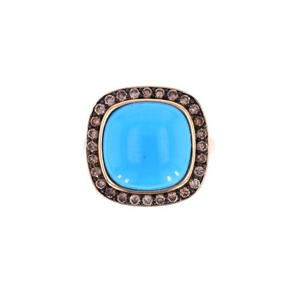 Turquoise & Brown Diamond 14k Yellow Gold Ring