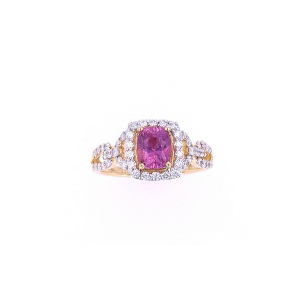 Pink Sapphire & Diamond 18k Yellow Gold Ring