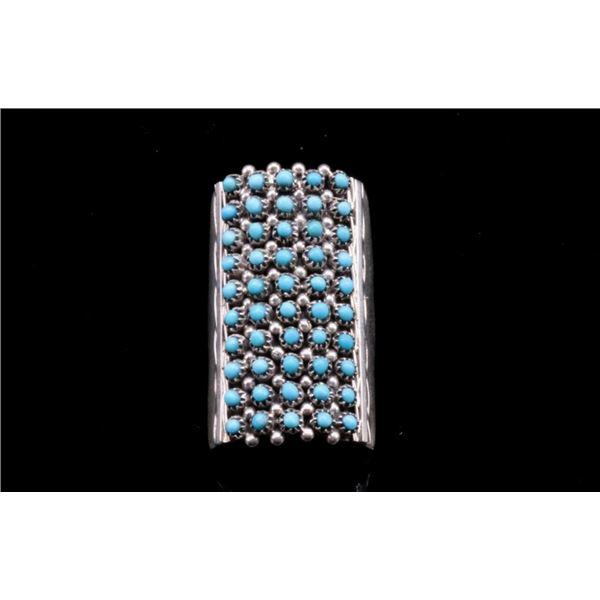 Zuni Pueblo Sterling Silver Petite Turquoise Ring