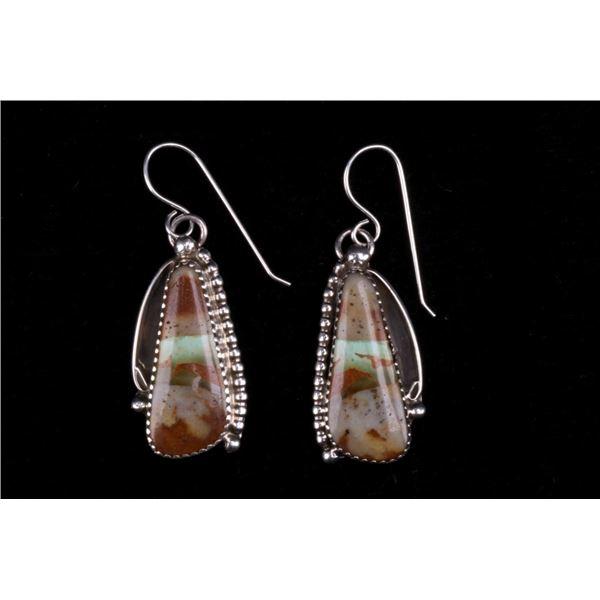 Navajo Silver King Manassa Turquoise Earrings