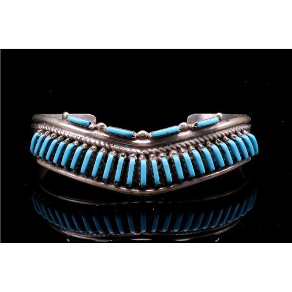 Navajo Sterling Silver & Petite Turquoise Bracelet