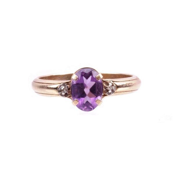Amethyst & Diamond 10K Gold Ring