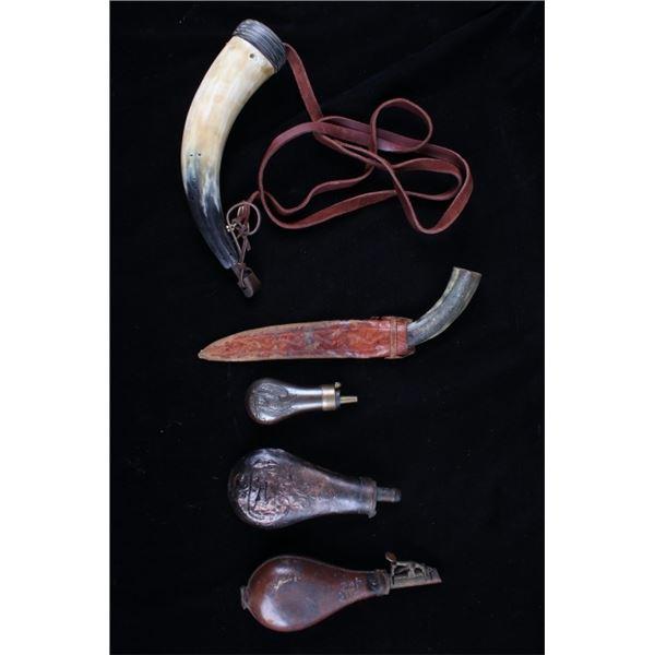 Collection of Black Powder Horn & Powder Flasks