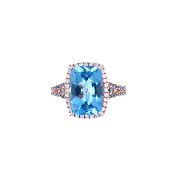 Swiss Blue Topaz & Blue Diamond 10k Rose Gold Ring