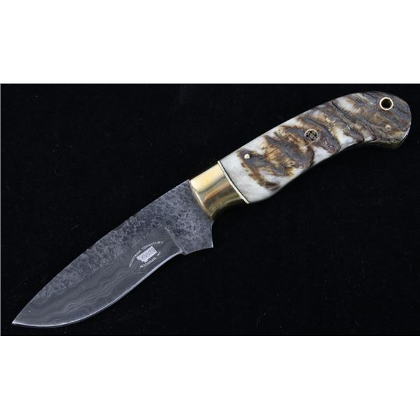 M.T. Knives Rams Horn & Damascus Drop Point Knife