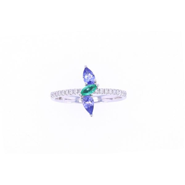 Emerald & Tanzanite Diamond 14k White Gold Ring