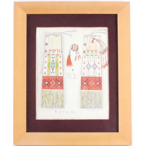 American Indian Pipe Bag Drawing by Denis Burdett