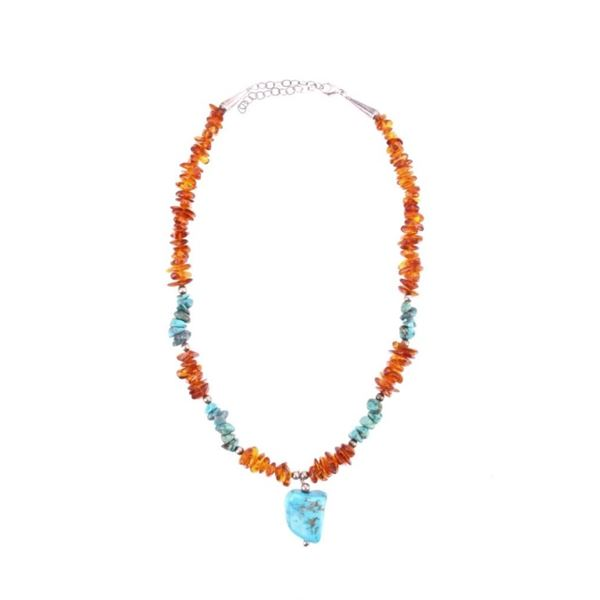 Amber & Cripple Creek Turquoise Sterling Necklace