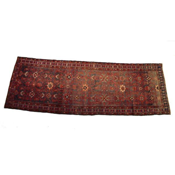 1930's Bijar Persian Hand Knotted Wool Runner Rug