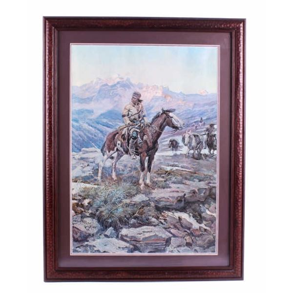 C.M. Russell Free Trappers Framed Lithograph
