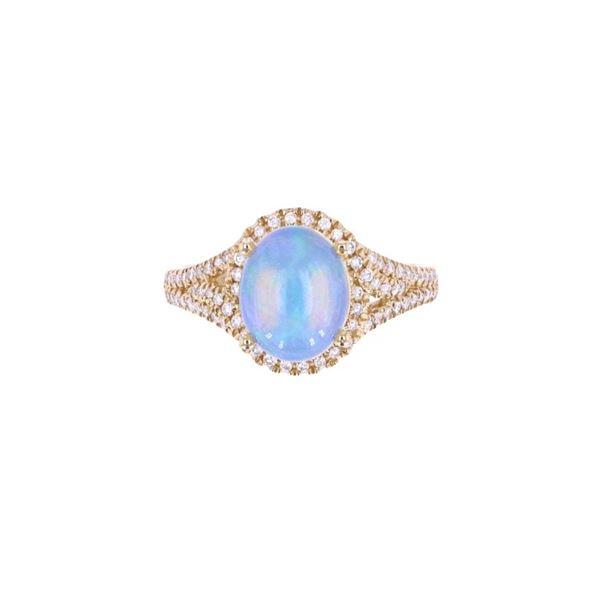 Ethiopian Opal & Diamond 14k Yellow Gold Ring