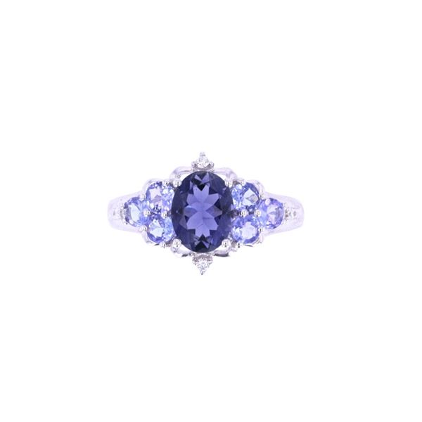 Iolite & Tanzanite Diamond 14k White Gold Ring