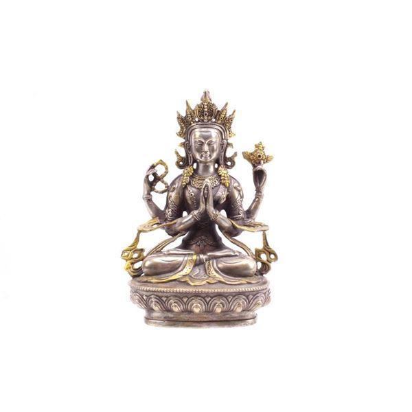 Tibetan Gilt Bronze Amitayus Figure