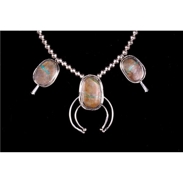 Navajo Silver King Manassa Turquoise Necklace