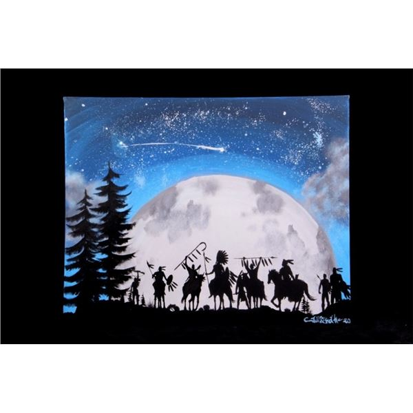 Native American Silhouette Moon & Stars Painting