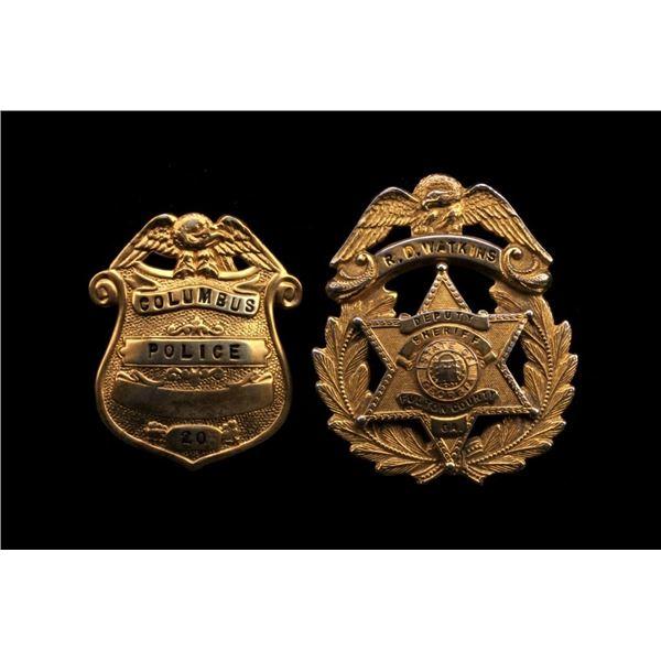 Georgia Sheriff's & Police Badge Brass Pair