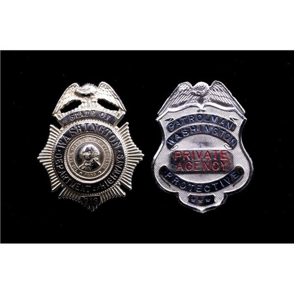 Pair of Washington State Brass Badges c. Mid 1900s
