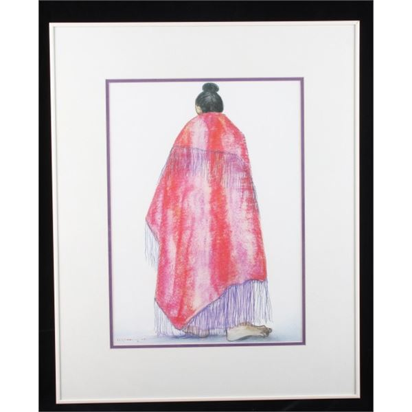 R C Gorman Navajo Woman In Red Blanket Print
