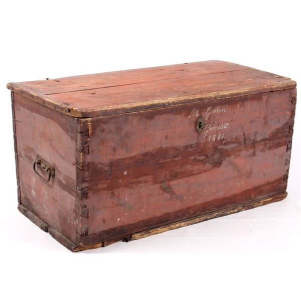 Early American Painted Primitive Chest c. 1881
