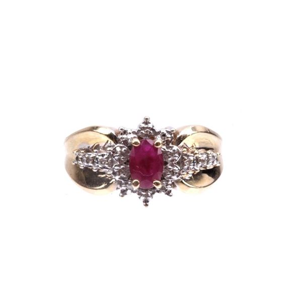 14K Gold, Diamond & Spinel Star Ring c.1940's