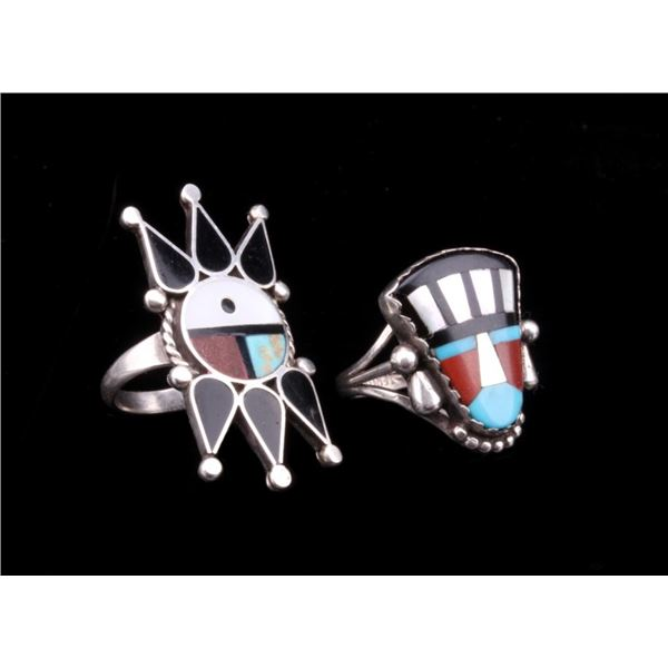 Zuni Sterling Silver Inlaid Mosaic Ring Collection