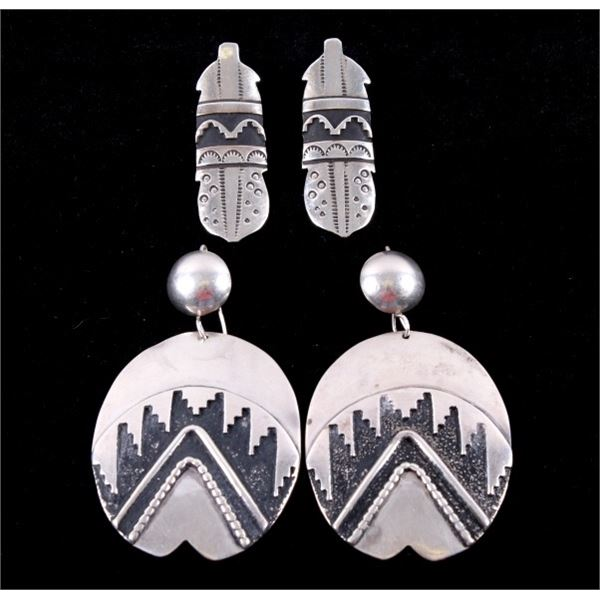 Two Pairs of signed T. Singer Sterling Earrings