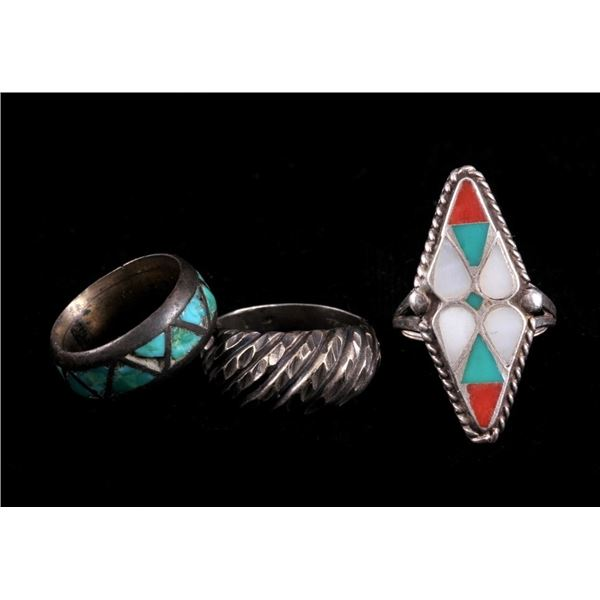 Collection of Three Navajo Sterling Silver Rings