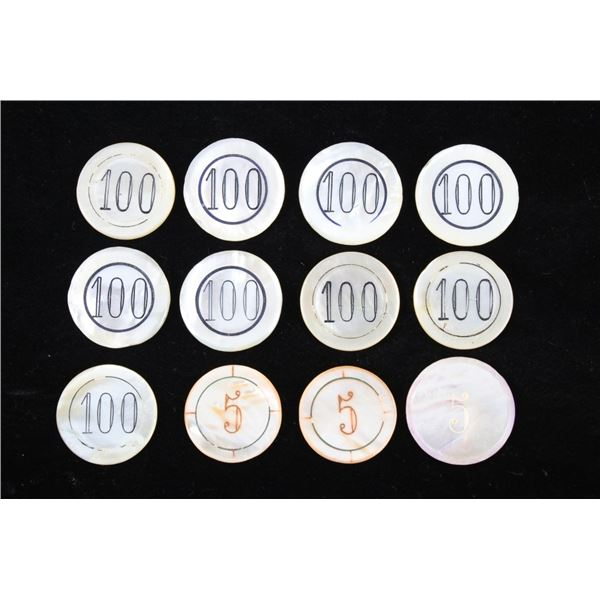 Early 1900's Mother of Pearl Poker Chip Collection