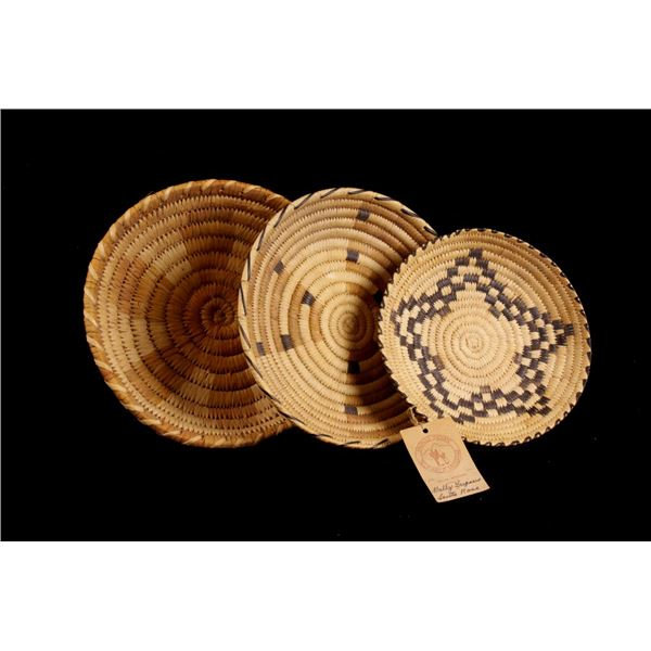 Collection of Three Papago Hand Woven Baskets