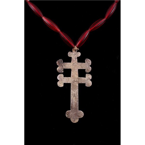 Silver Trade Cross of Lorraine Red Beaded Necklace