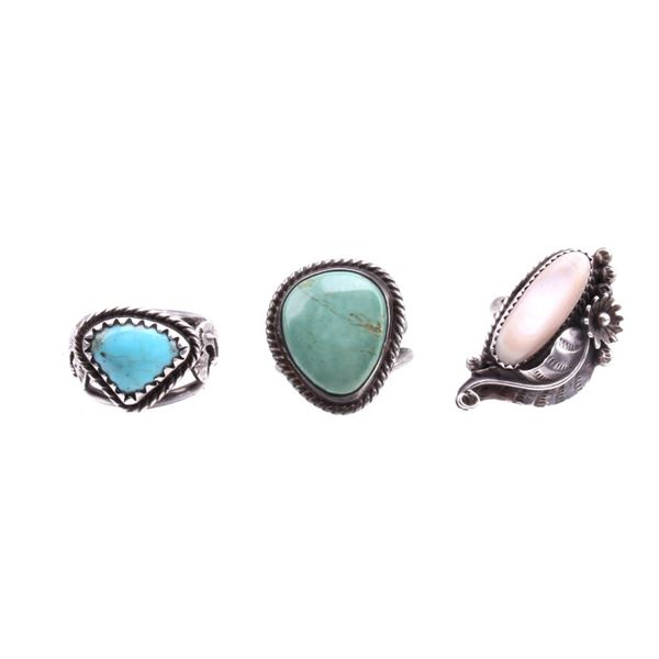 Navajo Sterling Turquoise & Mother of Pearl Rings