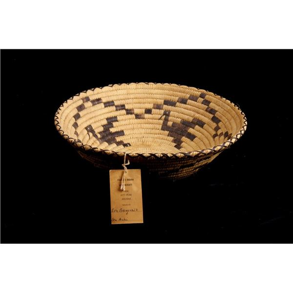 Papago Indian Hand Woven Basket by Eva Gregorio