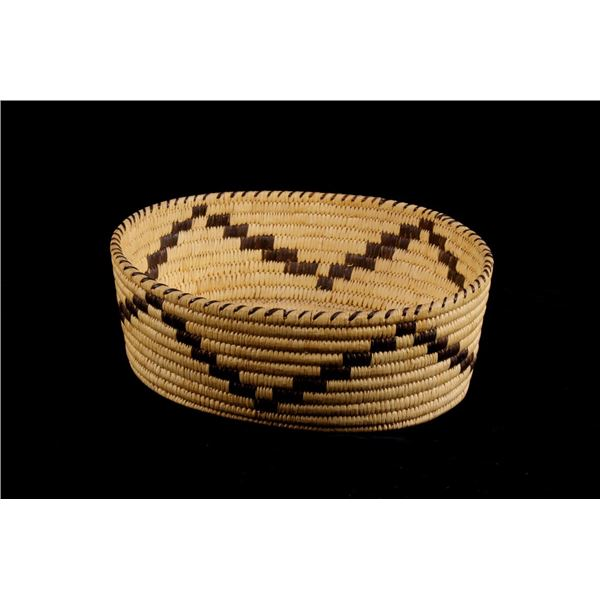Papago Indian Hand Woven Oval Basket c.1940s