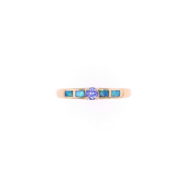 Tanzanite Blue & Green Opal 18k Yellow Gold Ring