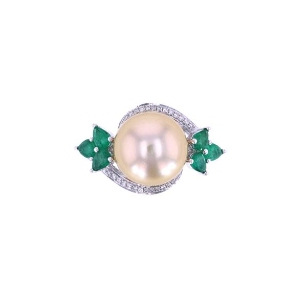 South Sea Pearl Emerald & Diamond 18k Gold Ring