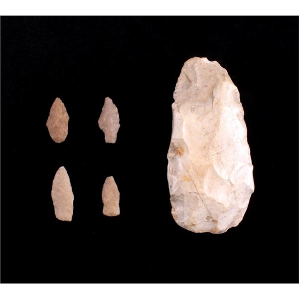 Early Archaic Lanceolate Scraper & Quartzite Point