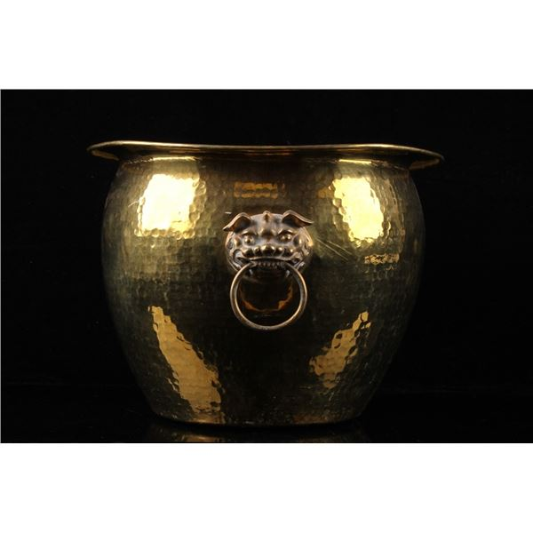 Brass Hong Kong Lion Embossed Hammered Spittoon