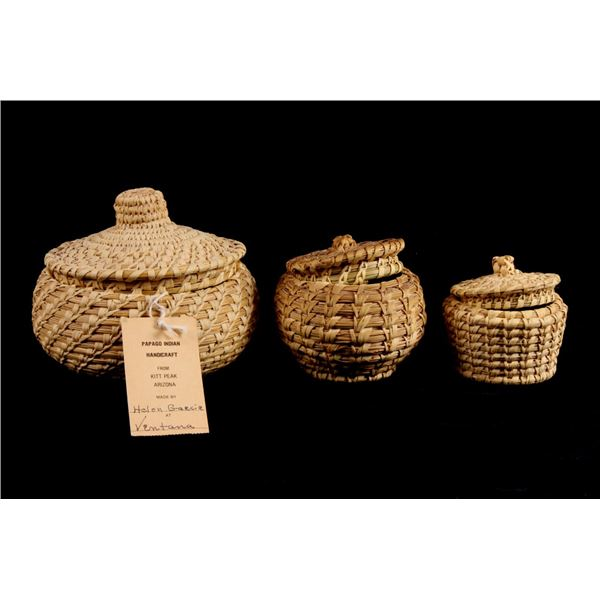 Collection of Three Papago Wheat Stitched Baskets