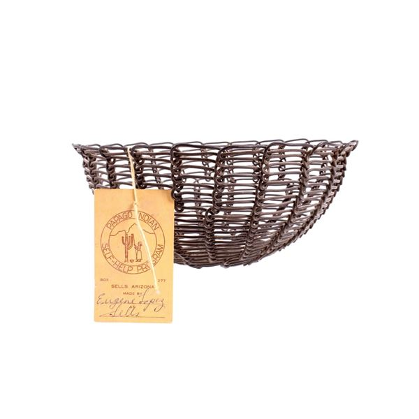 Papago Indian Wire Basket by Eugene Lopez
