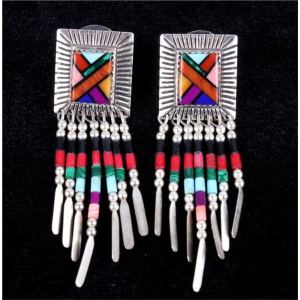 Navajo Inlaid & Signed QT Sterling Silver Earrings