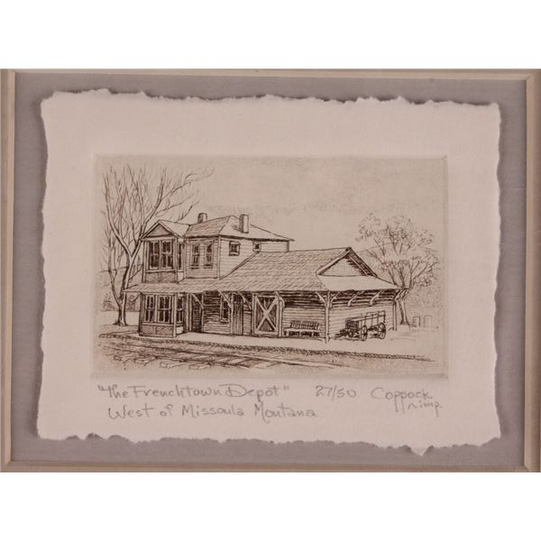 """B. Coppock Intaglio """"Frenchtown Depot"""" Mont. 27/50"""