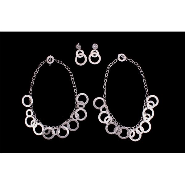 """Hammered Silver """"O"""" Charm Necklaces and Ear Rings"""