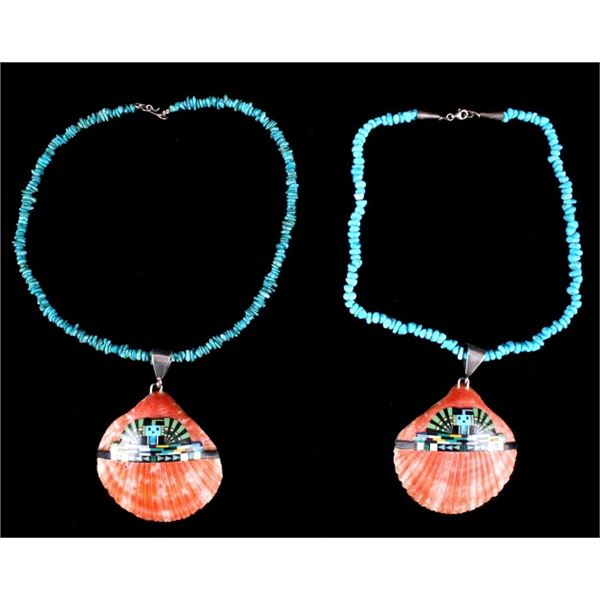 Pair of Navajo Turquoise Shell Necklaces