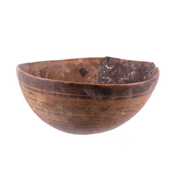 19th C. Ivory Coast Primitive Wooden Bowl