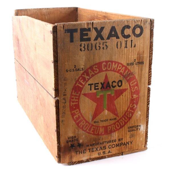 Texaco Wooden Motor Oil Crate circa 1940s