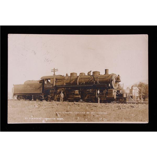 NPRR Engine 3009 Montana Framed Postcard c1900