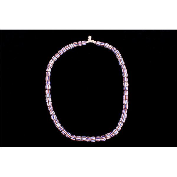 Venetian Striped Tubular Trade Bead Necklace