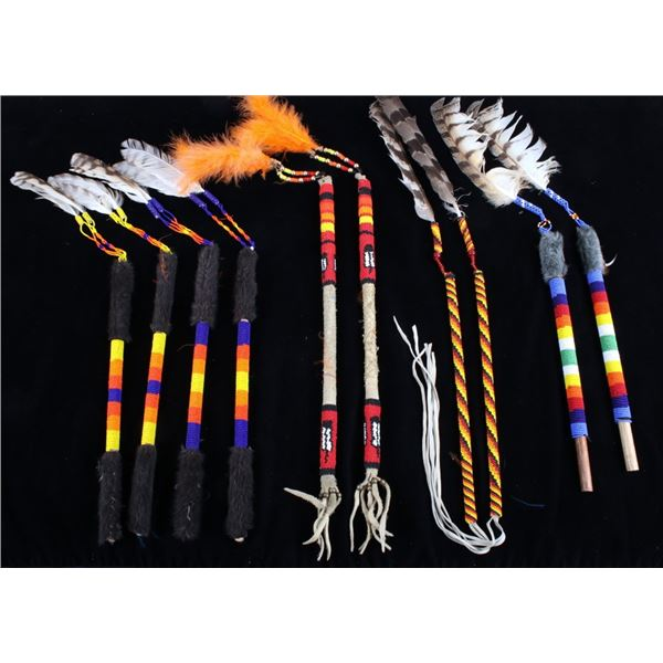 Flathead Indian Beaded Dance Stick Collection
