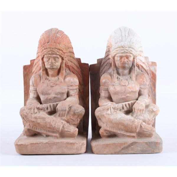 Pair of Native American Indian Chief Clay Bookends